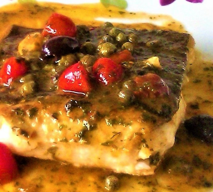 seared halibut with olive  caper sauce  simbooker recipescook photograph write eat